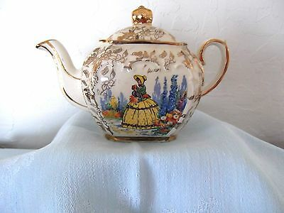 1950's SADLER MINI TEAPOT~ONE CUP~CUBE STYLE~VICTORIAN LADY IN GARDEN ~