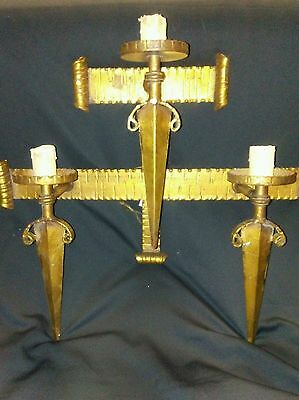 Antique Arts & Crafts metal with brass tone color  Wall Light Sconce