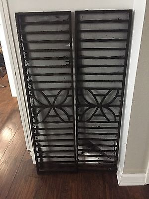 Vintage Antique Wrought Iron Gate Grate Transom Architectural Salvage Set Of 2