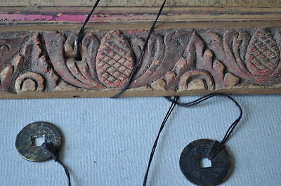 Buddhist sutra prayers wood panels inscriptions with coins