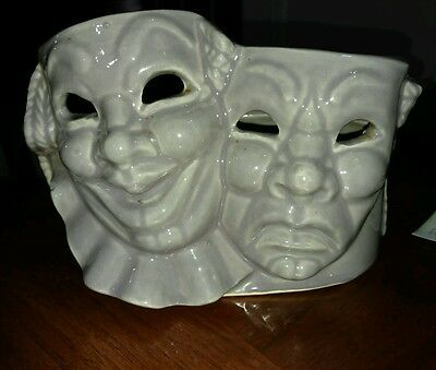 Vintage Shawnee Pottery Planter Vase Comedy Tragedy Harlequin Masks grey 1950's