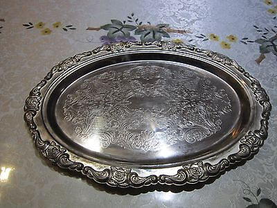 Vintage 1950's Oval Silver Plated Serving Tray - Made in Hong Kong