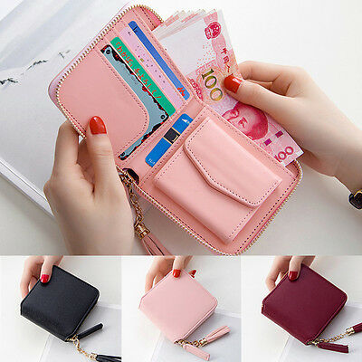 Women PU Leather Tassel Pendant Small Wallet Card Holder Coin Purse Bag Square