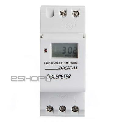 Digital LCD DIN Programmable Weekly Rail Timer AC 250V 16A Time Relay Switch New