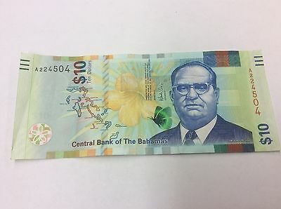 "2016 Bahamas $10 NEW RELEASE CRISP ""EVOLUTION"" ISSUE B350/PNL  CIRCULATED #504"