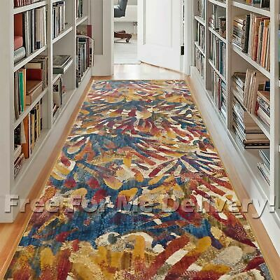 HERVEY PALM LEAVES COLOURFUL MODERN FLOOR RUG RUNNER 80x300cm **FREE DELIVERY**