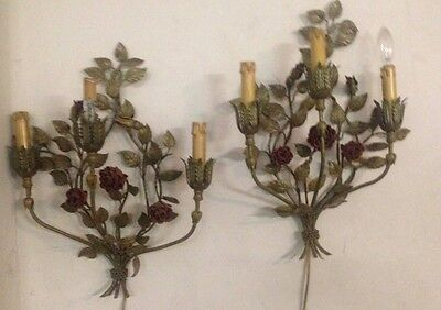 Pair of Vintage Floral Electric 3 Bulb Wall Sconces