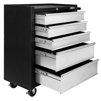 5 Drawers Roller Toolbox Cabinet Large Heavy Duty Mechanic Tool Box BLack/Grey