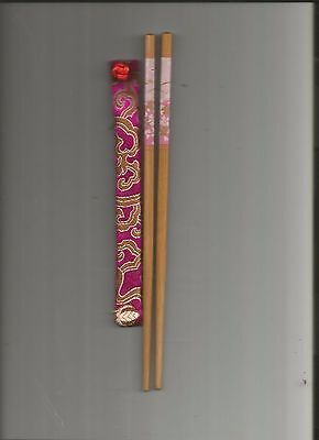 Chinese  Wood  Chopsticks With Pink  Flower With Free Silk Holder