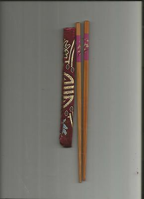 Chinese  Wood  Chopsticks With Deep Purple   Flower With Free Silk Holder