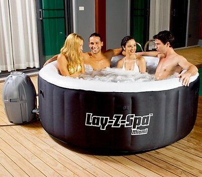 NEW Portable Bestway 4 Person Inflatable Garden Swimming Pool Spa with Cover