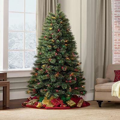 5ft, 6ft, 7ft Green Artificial LED Christmas Tree Pre-Lit Pre-Lighted Xmas tree