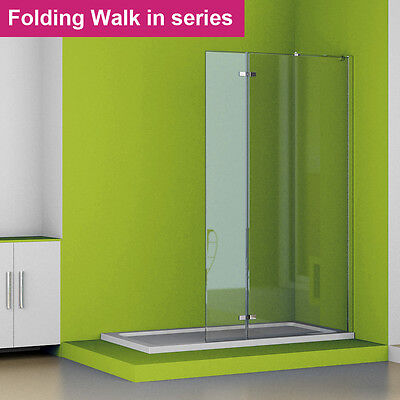 Walk In Tall Folding Shower Enclosure Wet Room 6mm Easyclean Glass Screen Panel