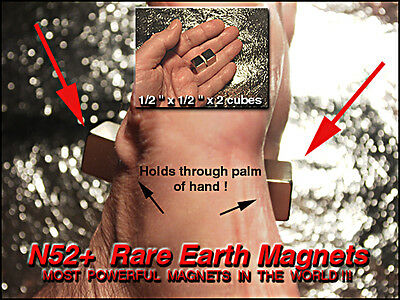 """Extremely Powerful Rare Earth Magnets 1/2""""x1/2""""x1/2"""" / 4 pcs NdFeBo N52+"""