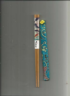 Japanese Wood  With Koi Fish Chopsticks / Hairsticks  With Free Silk Holder