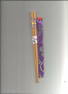 Japanese Wood With Multi Colored Circles Chopsticks With Free Silk Holder
