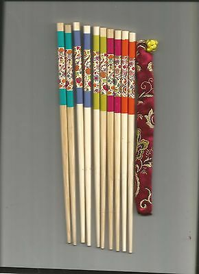 Chinese Pretty Multi Color  Wood Chopsticks /hairsticks  W/free Silk Holder