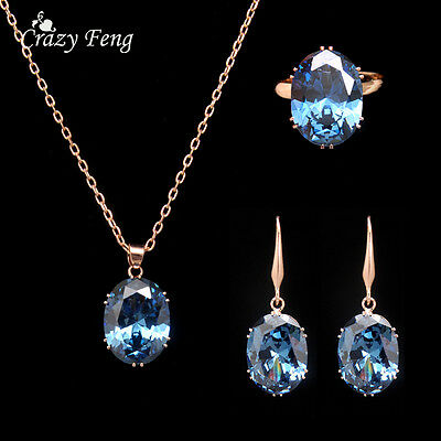 Fashion Women Gold Plated Crystal Jewelry Sets Wedding Necklace Earring Ring set