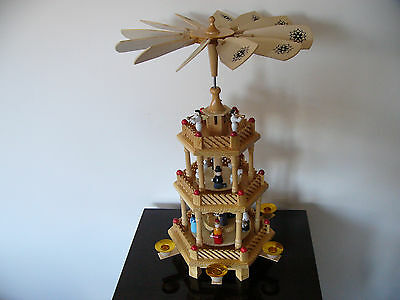 Traditional Wooden German Christmas Tree Pyramid 3 Tier + Set of 6 Candles *NEW*