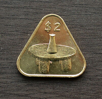 """Cook Islands $2 , 2 Dollars """" Mortar and Kumete table"""" 2015 UNC COIN """"Triangle"""""""