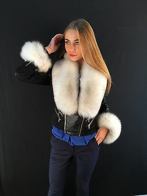 Blue Fox Fur Collar + Tails As Wristbands. About 47 inches. SAGA FURS BOA STOLE