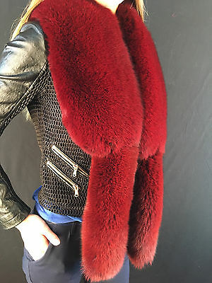 Fox Fur Collar + Tails As Wristbands. About 47 inches. SAGA FURS BOA STOLE