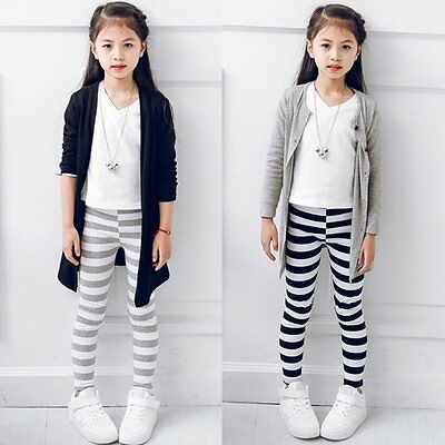 Kid Baby Girl Winter Warm Stretchy Striped Cotton Leggings Pants Trouser Bottoms