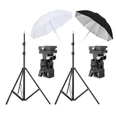 Pro Photo Studio Speedlite Flash Umbrella Lighting Mount Bracket Light Stand Kit
