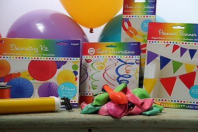 Rainbow Party Multi Coloured Summer Decoration Pack Bunting Balloons Garlands