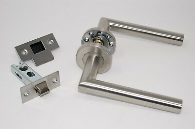 5 X Mitred Door Handle Pack (Latch Set) + 2 x Bathroom Set Satin SS