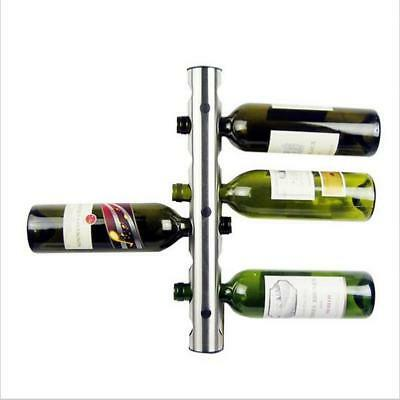 Stainless Steel 8 Bottle Wine Rack Bar Kitchen Wall Mounted Holder Silver
