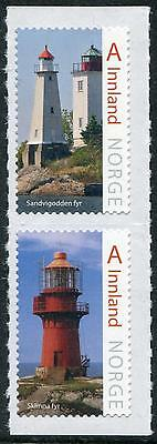 Lighthouses vertical pair of mint self-adhesive stamps 2016 Norway ex-booklet
