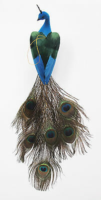 22 inch Feather/Flocked Long Tail Peacock Bird in Green/Blue, Handmade