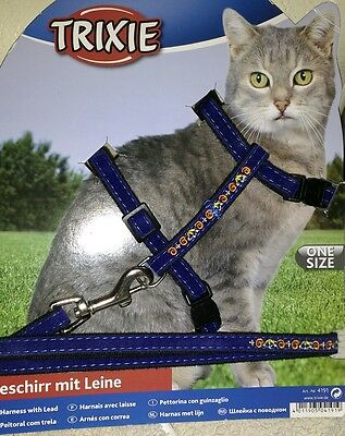 Trixie Blue Velvet Cat Lead Harness Set,  27-44cm CHEST 1.20 MTE LEAD
