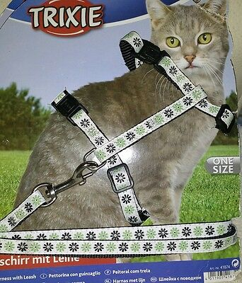 Trixie Daisy Flowers Design Cat Lead Harness Set,  27-44cm CHEST 1.20 MTE LEAD