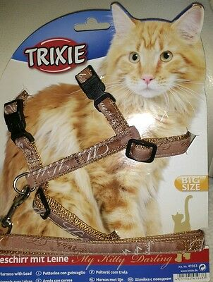 Trixie My Kitty Darling Cat Lead Harness Set, Large, 33 57cm CHEST 1.20 MTE LEAD