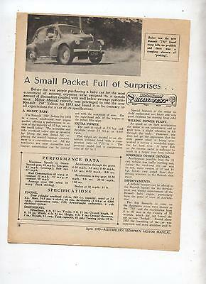 1953 Renault 750 Original Road Test Article Removed from an Australian Magazine