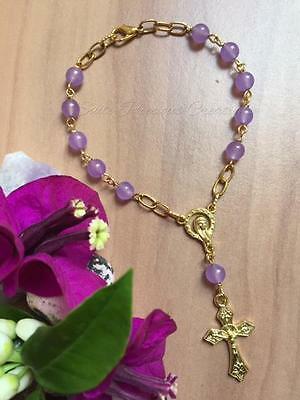 Purple Chalcedony gemstone auto/travel/decade gold plated Rosary bracelet 21cm