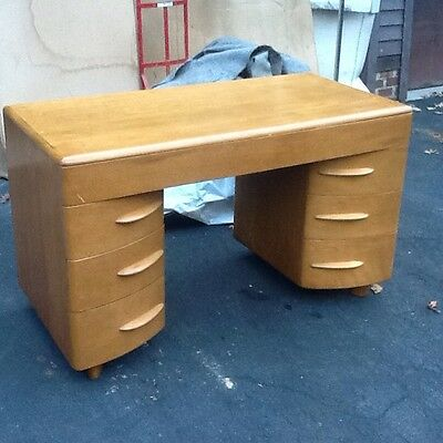 Vintage Heywood Wakefield Mid Century M320 Kneehole  Wood Desk - Very Good