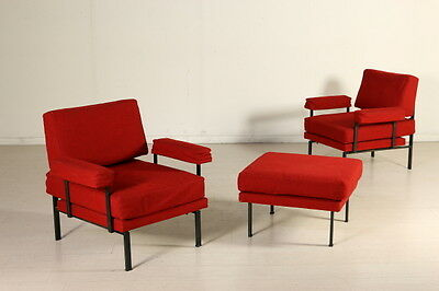 Two 'Isa' Armchairs with Footrest Foam Fabric Metal Vintage Italy 1950s-1960s
