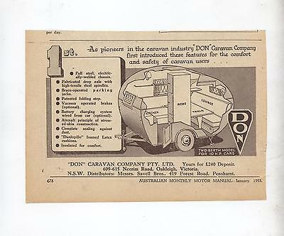Don Caravan Original Advertisement removed from a 1953 Magazine