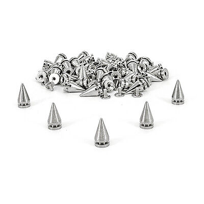 50 - 100 Pcs 10mm x 20mm Punk Metal Rivets Spiked Rock Silver Stud Denim Leather
