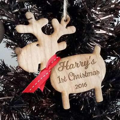 Personalised Baby First Christmas Rustic Tree Decoration Rudolph Gift Present