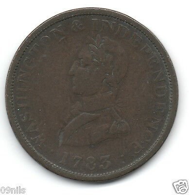 1783 USA Washington & Independence Token / Coin United States, Copper, Rare #B2