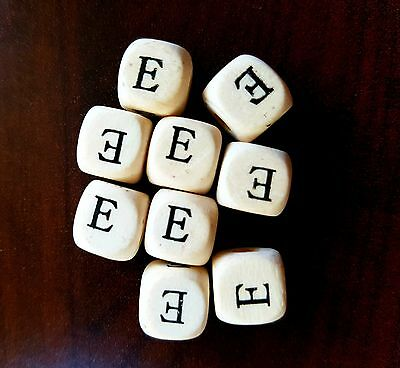 36 Dados letra E de madera color blanco 10 mm cubes dices letras letter E beads