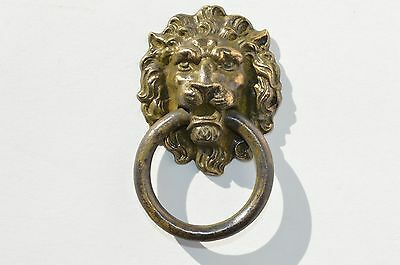 Antique Victorian Ornate Small Solid Bronze Lion Face Drawer Pulls