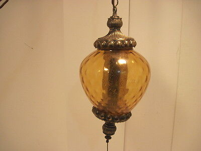 Old Vintage Gold Amber Glass Swag Ceiling Light Works Nice Retro Light
