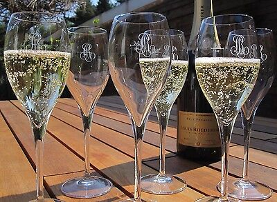 Cristal Champagne Louis Roederer  Lehmann Crystal Glasses Rare X6