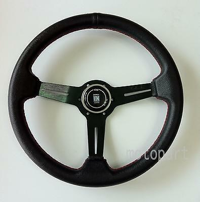 Nardi Competition Steering Wheel - 350mm - Black Leather / Black Classic Horn