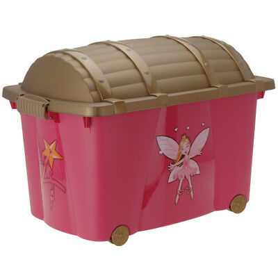 Girls Pink Princess Toy Games Chest Clothes Box with Wheels Kids Bedroom Storage